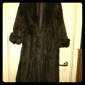 Faux Mink Coat reversible to Leather, sz L